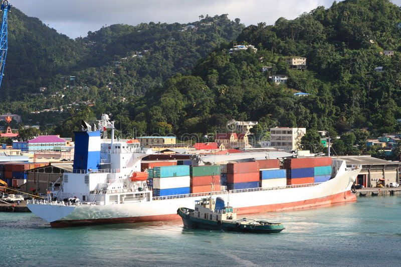 Caribbean Container Ship royalty free stock photography