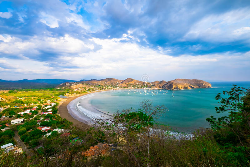 San Juan Del Sur Nicaragua Beach Beautiful View Sky Tourism Tourist Destination Pacific Ocean Rocks Rain Forest Jungle Tourist To stock photography