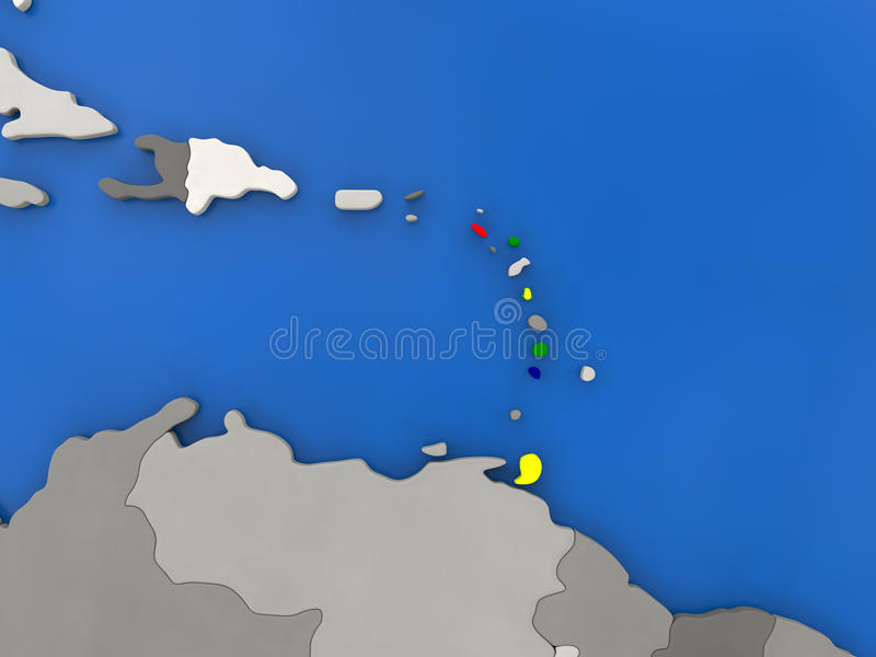 Caribbean on globe stock illustration illustration of country map of caribbean with embedded national flag on globe top down view 3d illustration gumiabroncs Image collections