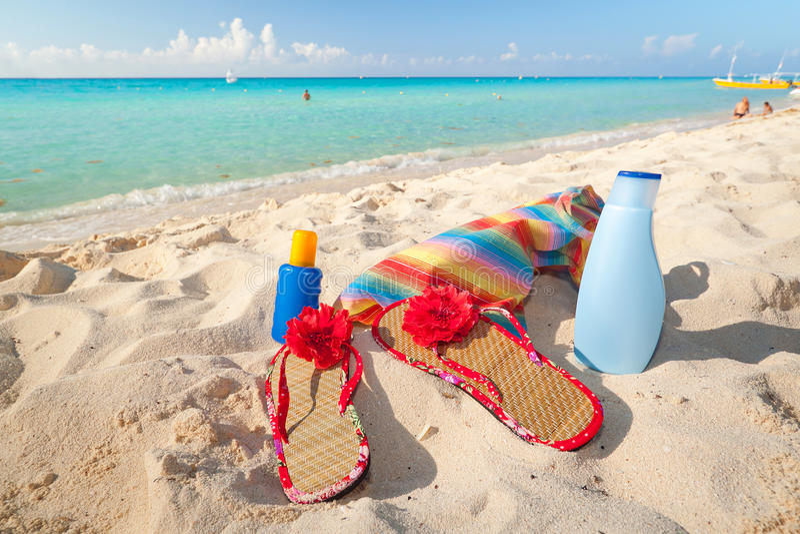 Caribbean holidays on the beach stock photos
