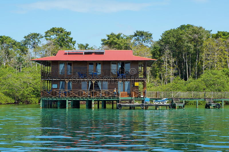 Caribbean hotel over water with solar panel Panama stock image