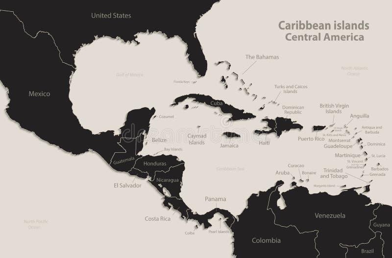 Caribbean islands Central America map Black blackboard separate states individual. Caribbean islands Central America map state names Black blackboard separate stock illustration