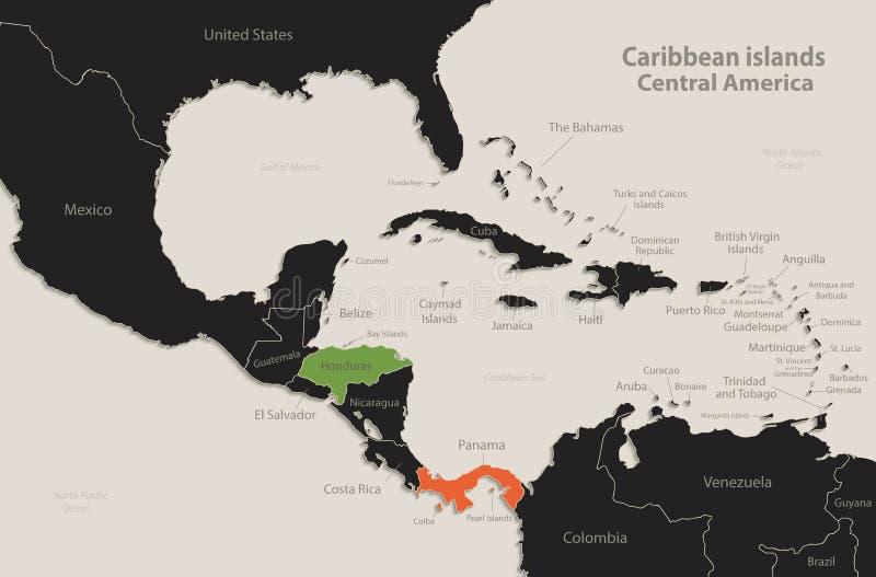 Caribbean islands Central America map Black colors blackboard separate states individual. Vector stock illustration