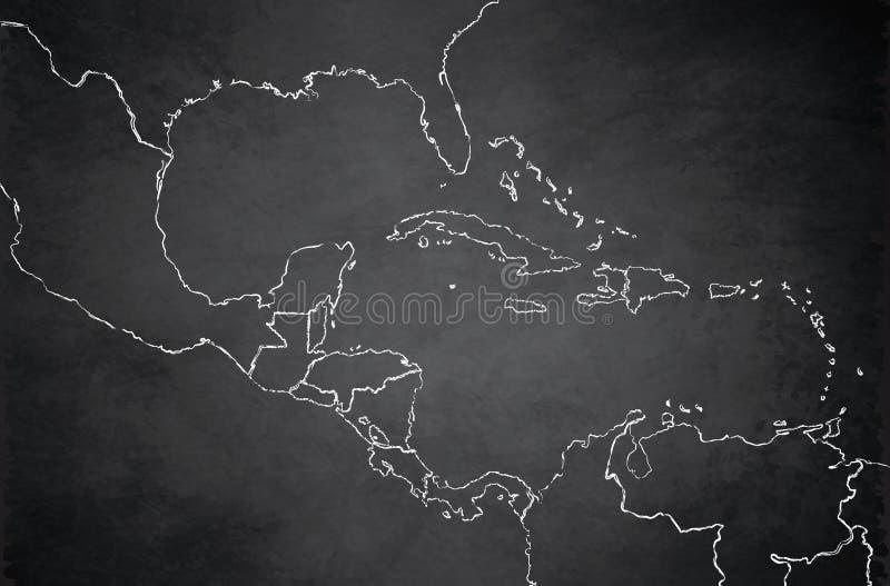 Caribbean islands Central America map blackboard chalkboard blank vector. Template school vector illustration