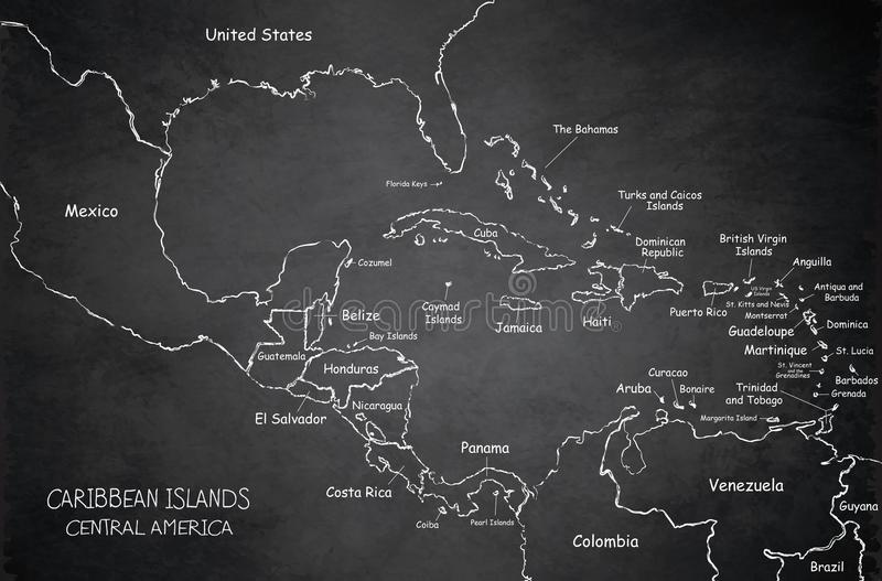 Caribbean islands Central America map blackboard chalkboard vector illustration