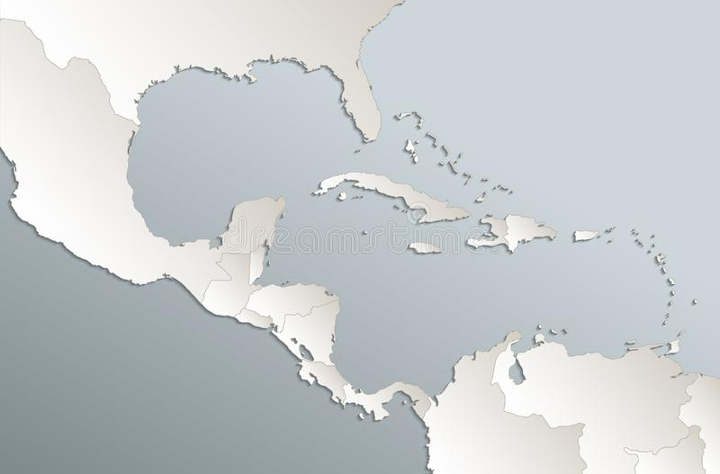 Caribbean islands Central America map card blue white 3D vector blank. Template royalty free illustration