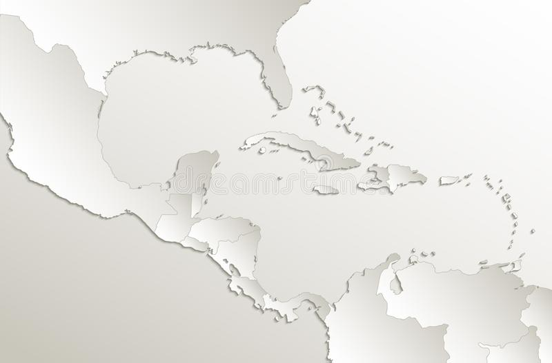Caribbean islands Central America map card paper 3D natural blank. Vector stock illustration