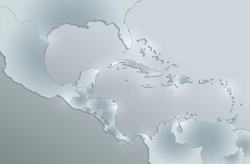 Caribbean islands Central America map glass card paper 3D blank. Vector royalty free illustration