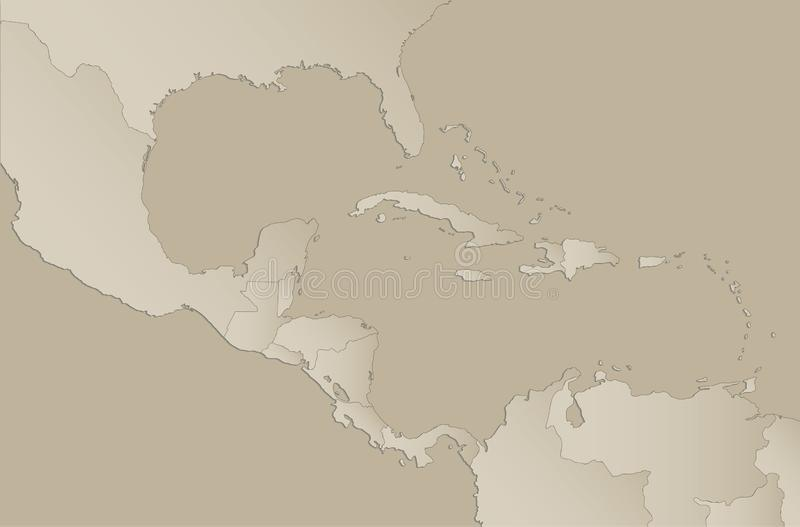 Caribbean islands Central America map with individual states separated, infographics blank. Vector stock illustration