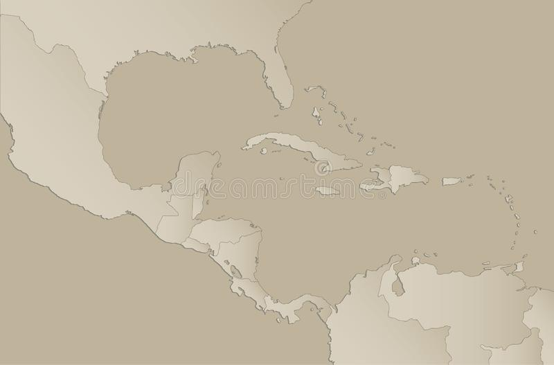 Caribbean islands Central America map with individual states separated, infographics with icons blank. Caribbean islands Central America map with individual vector illustration