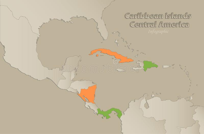 Caribbean islands Central America map with individual states separated, infographics. Vector royalty free illustration