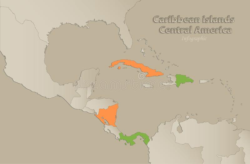 Caribbean islands Central America map with individual states separated, infographics with icons. Caribbean islands Central America map with individual states stock illustration