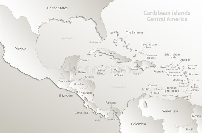 Caribbean islands Central America map card paper 3D natural. Caribbean islands, Central America map, separate states, state names, card paper 3D natural vector vector illustration