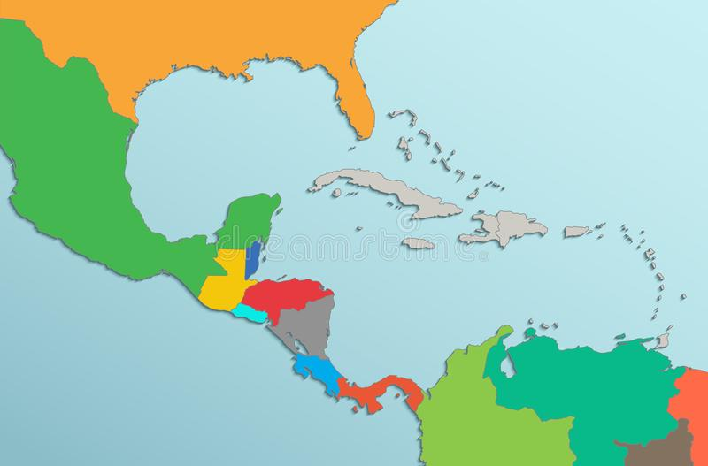 Caribbean islands Central America map card colors 3D. Caribbean islands Central America map state names card colors 3D raster vector illustration
