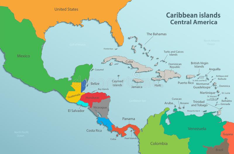 Caribbean islands Central America map state names card colors 3D. Vector royalty free illustration