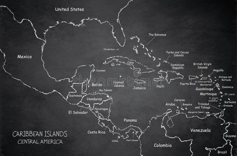 Caribbean islands Central America map, state names, separate states, blackboard chalkboard vector. School vector illustration