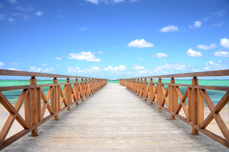 Caribbean Jetty and exotic beach royalty free stock photo