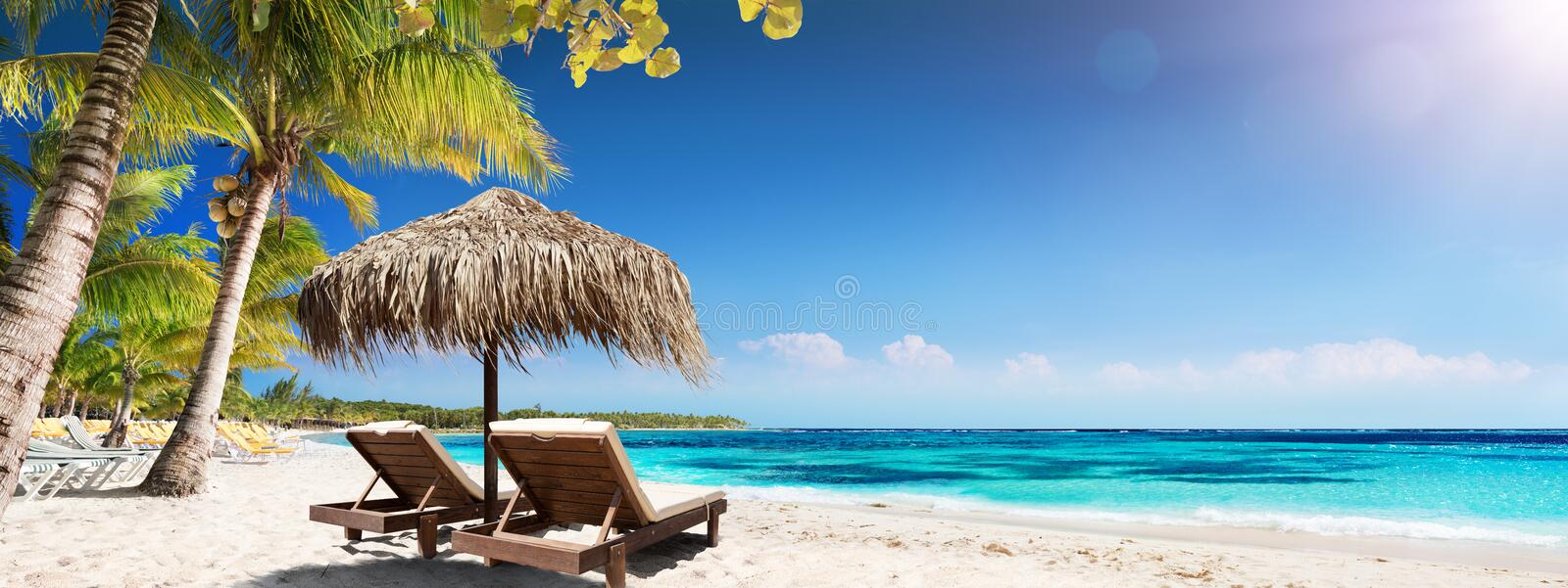 Caribbean Palm Beach With Wooden Chairs And Straw Umbrella royalty free stock photos