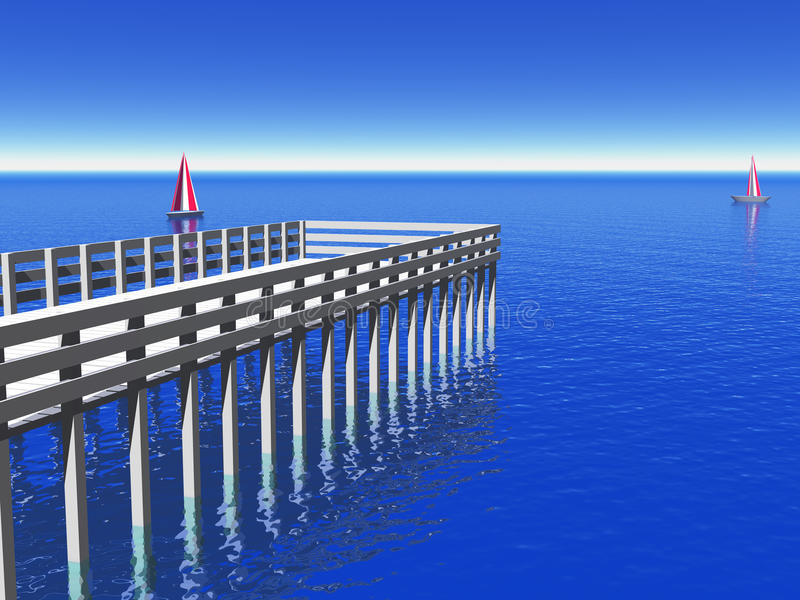 Caribbean Pier. White Caribbean pier at noon with yachts with blue sky and ocean royalty free illustration