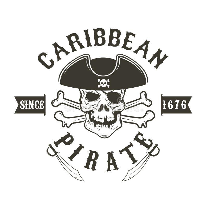 caribbean pirat Pirat czaszka w admiral kordzikach i pióropuszu ilustracji