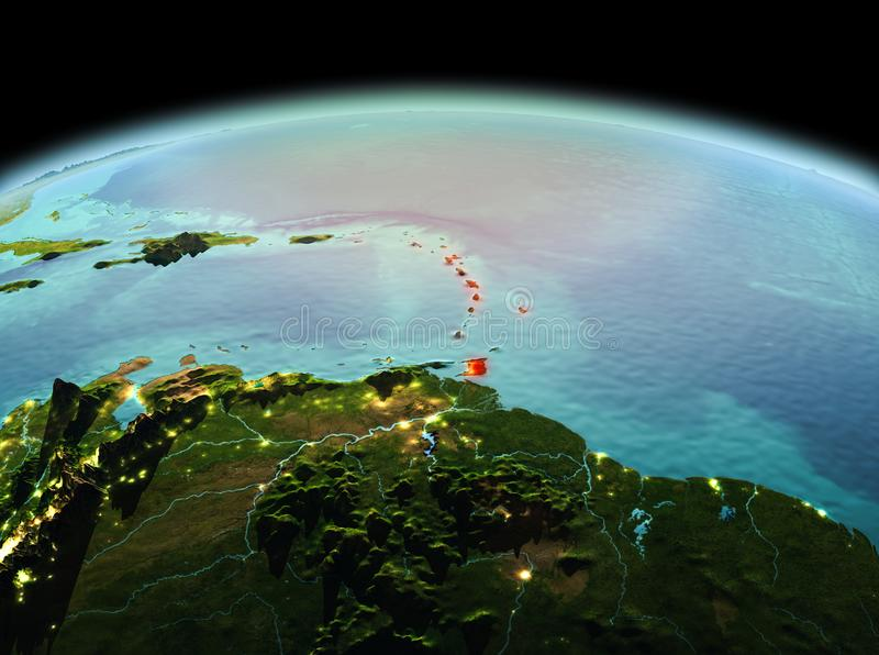 Caribbean on planet Earth in space. Morning above Caribbean highlighted in red on model of planet Earth in space. 3D illustration. Elements of this image royalty free stock images