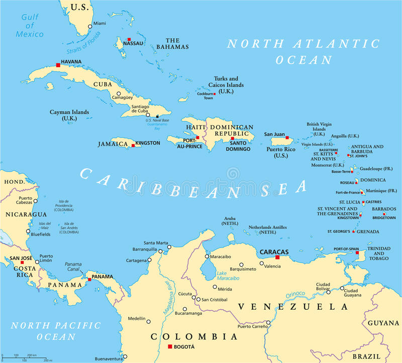 Caribbean Political Map royalty free illustration