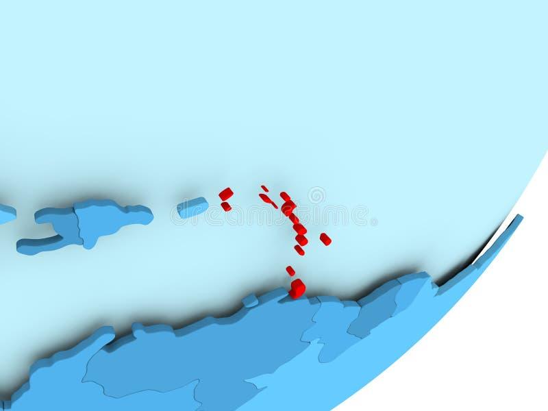 Map Of Caribbean On Blue Political Globe Stock Illustration ...