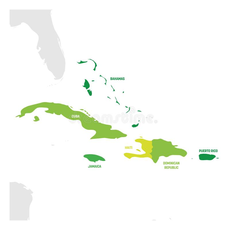 Caribbean Region. Map of countries in Caribbean Sea in Central America. Vector illustration.  royalty free illustration