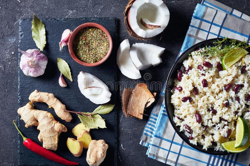 Caribbean Rice and Red Beans in a bowl royalty free stock photo