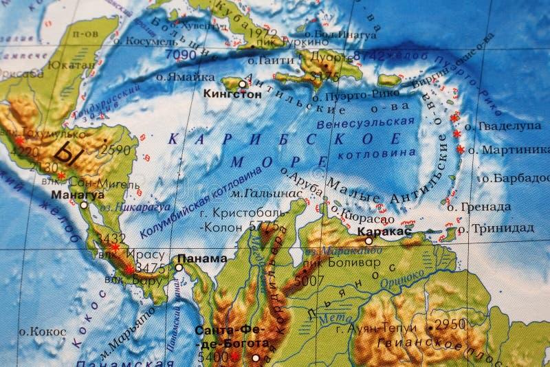 Caribbean Sea. Part of a map. Caribbean sea royalty free illustration