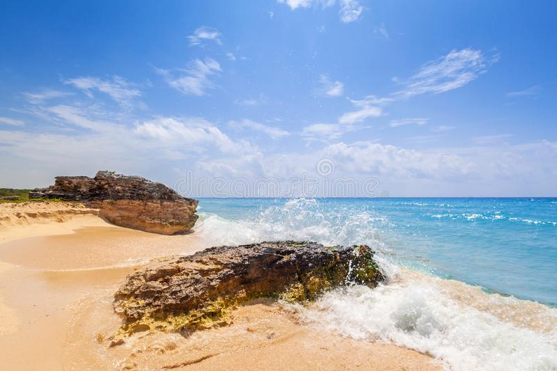 Caribbean Sea beach in Playa del Carmen. Mexico stock photography