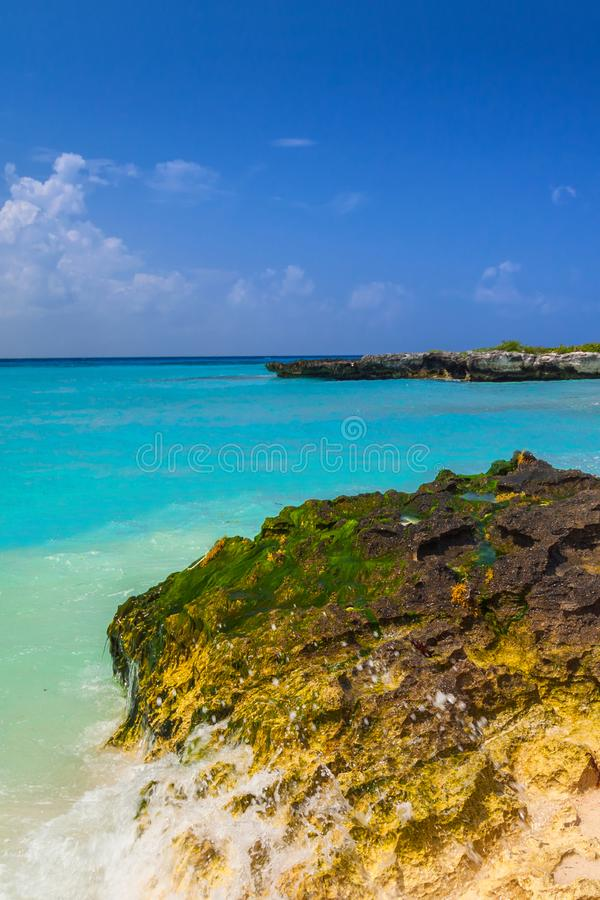 Caribbean Sea beach in Playa del Carmen. Mexico stock photos
