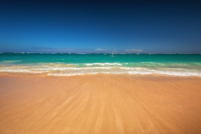 Caribbean sea and boat on the shore, beautiful panoramic view royalty free stock image