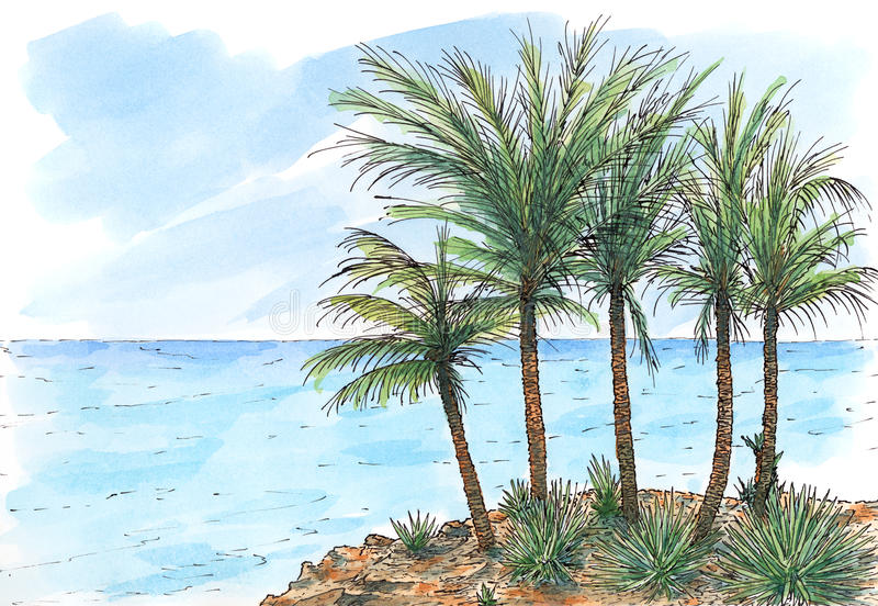 Caribbean sea-coast with palm trees. Ink and watercolor on rough paper stock illustration