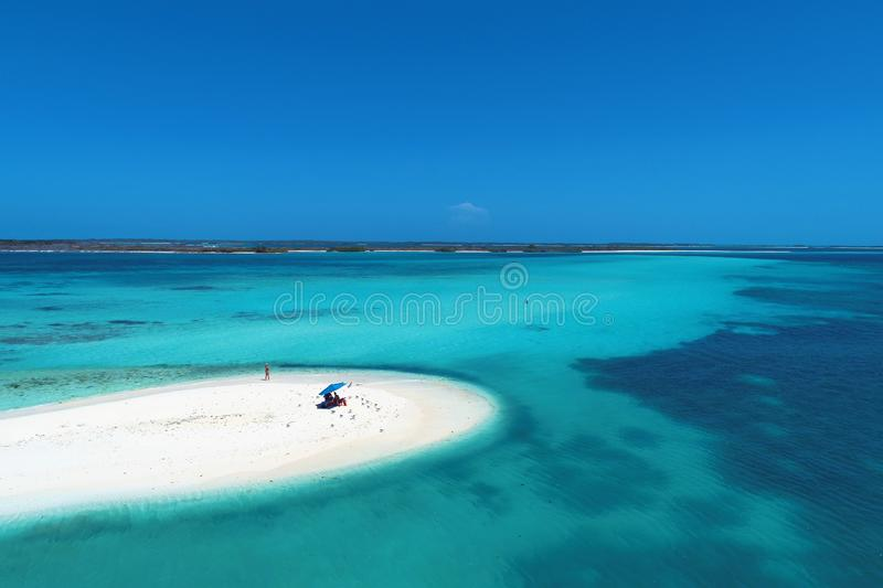Caribbean sea, Los Roques. Vacation in the blue sea and deserted islands. royalty free stock images