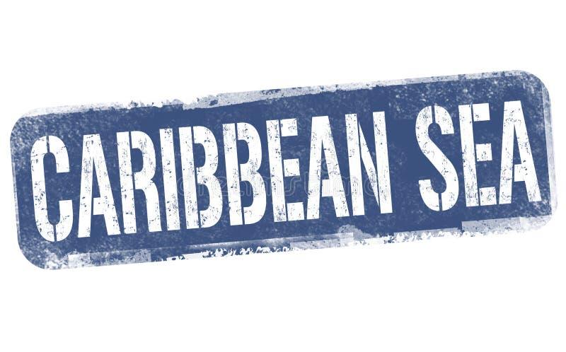 Caribbean sea sign or stamp. On white background, vector illustration stock illustration
