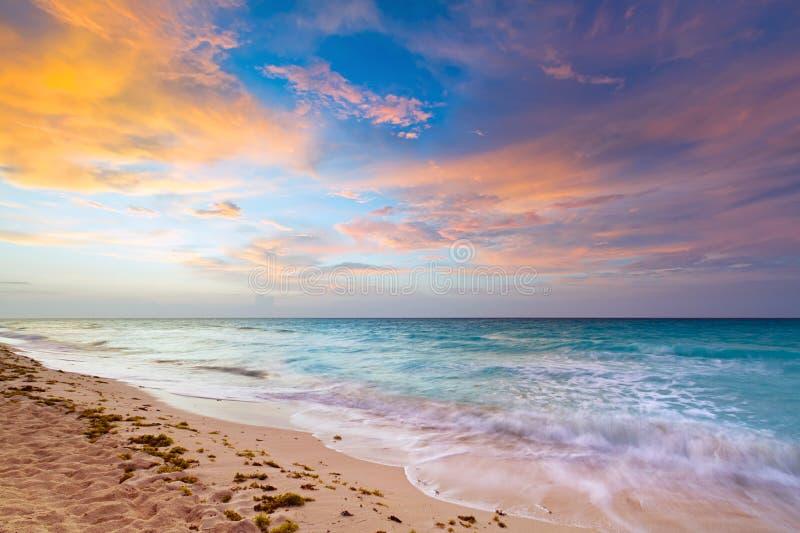 Caribbean Sea at sunrise royalty free stock photos