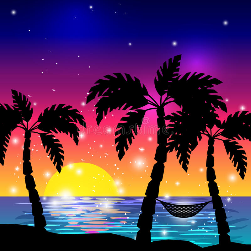 Caribbean sea view with palm trees. Caribbean sea view with palm tree silhouettes and ocean sunset vector illustration stock illustration