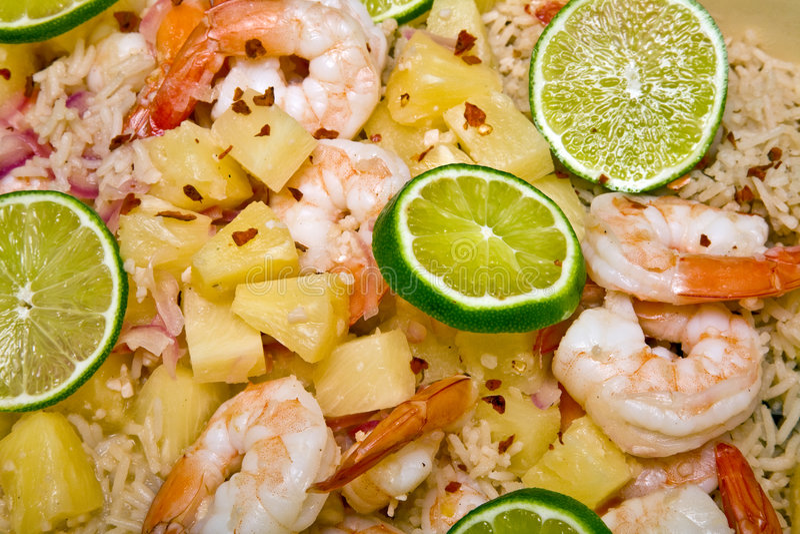 Caribbean Shrimp and Rice Dish royalty free stock photo