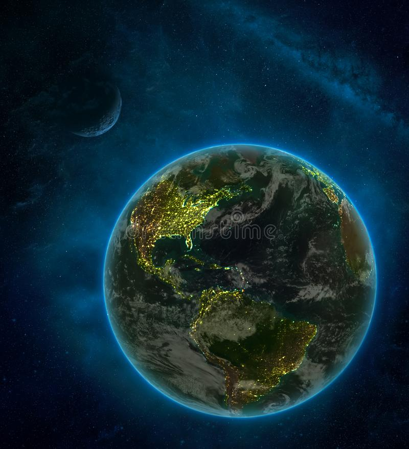 Caribbean from space on Earth at night surrounded by space with Moon and Milky Way. Detailed planet with city lights and clouds. 3D illustration. Elements of stock illustration