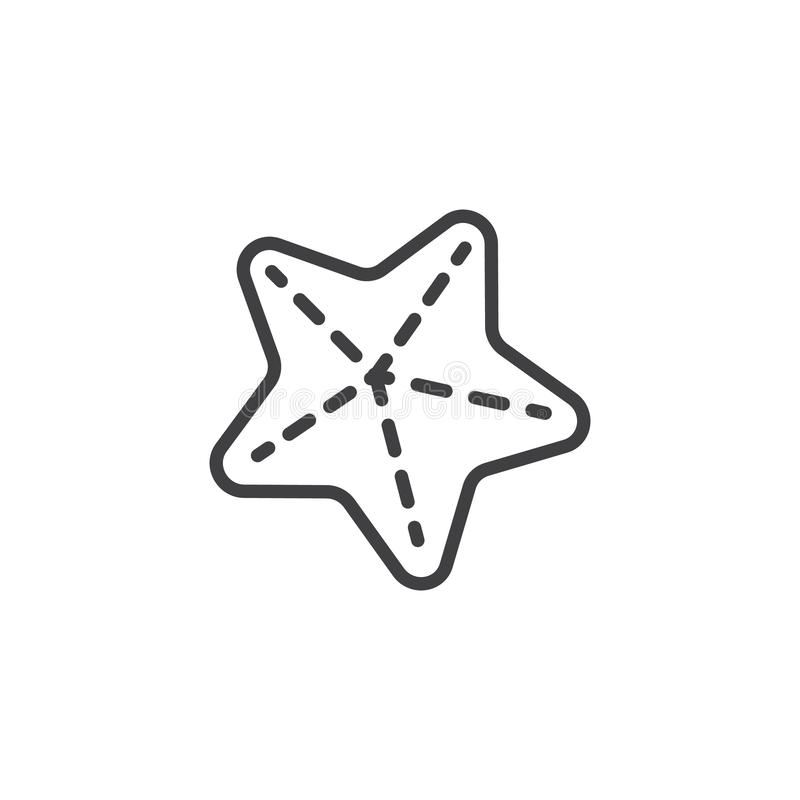 Caribbean Starfish outline icon. Linear style sign for mobile concept and web design. Sea star simple line vector icon. Symbol, logo illustration. Pixel stock illustration