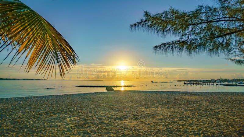 A Caribbean sunrise from a beach. A Caribbean sunrise view from a beach stock photography