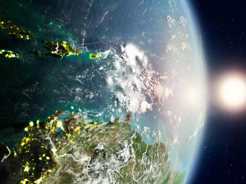 Caribbean during sunrise. Highlighted in red on planet Earth with visible country borders. 3D illustration. Elements of this image furnished by NASA royalty free stock photos