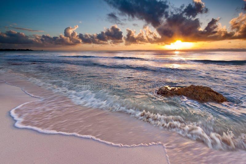 Caribbean Sunrise. Near Playa del Carmen, Riviera Maya, Mexico stock images