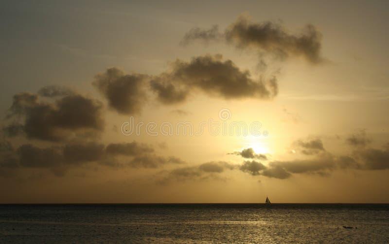 Caribbean Sunset Sails Stock Photography