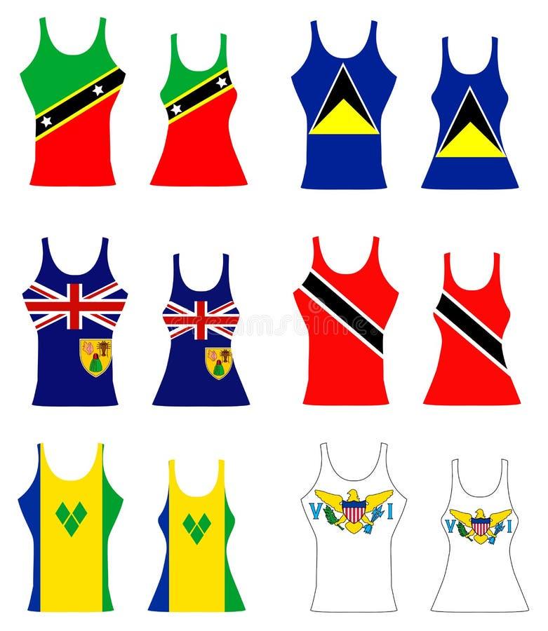 Caribbean Tank Tops. Vector Illustration of Caribbean Tank Tops for men and women stock illustration
