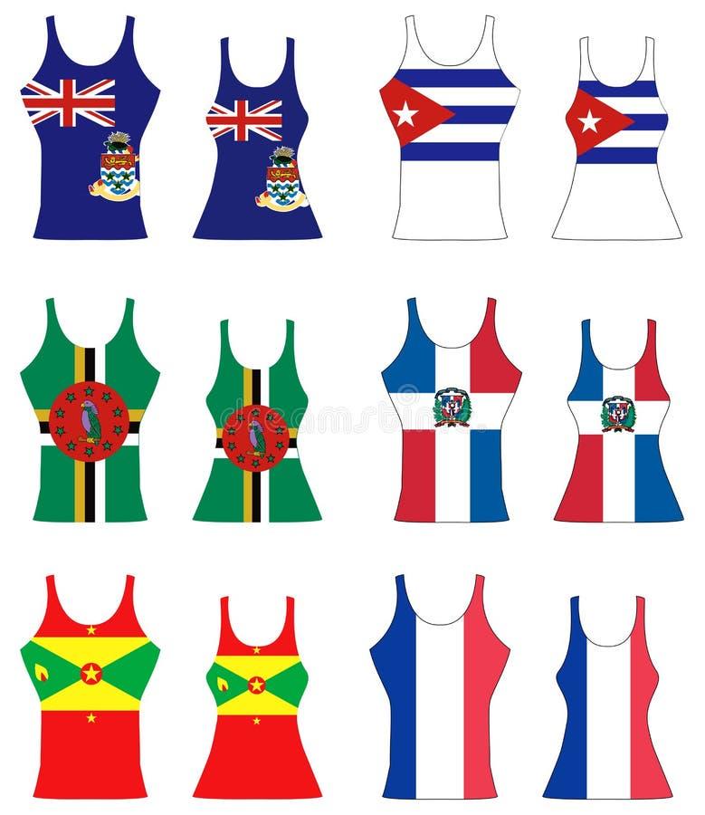 Caribbean Tank Tops. Vector llustration of Caribbean Tank Tops for men and women stock illustration