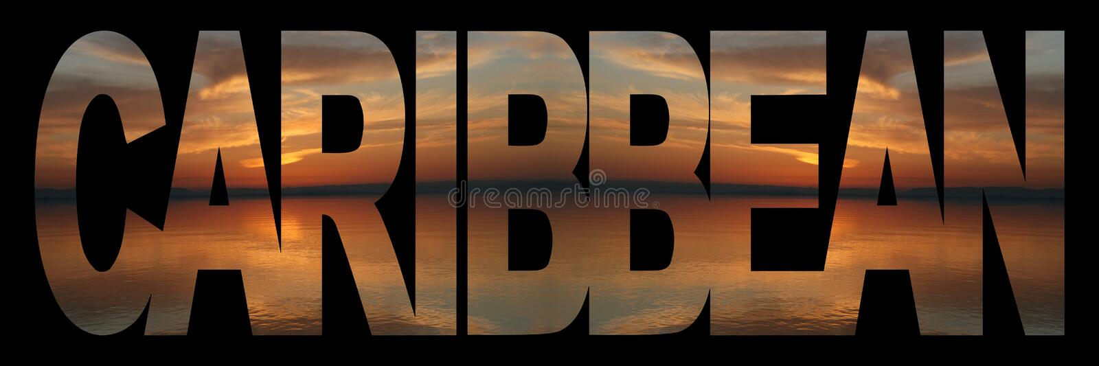 Caribbean Text With Sunset Royalty Free Stock Images