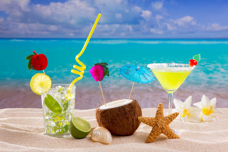 Caribbean Tropical Beach Cocktails Mojito Margarita Royalty Free Stock Photos