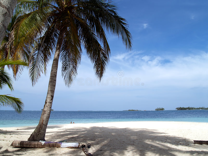 Caribbean tropical white sand beach royalty free stock photography